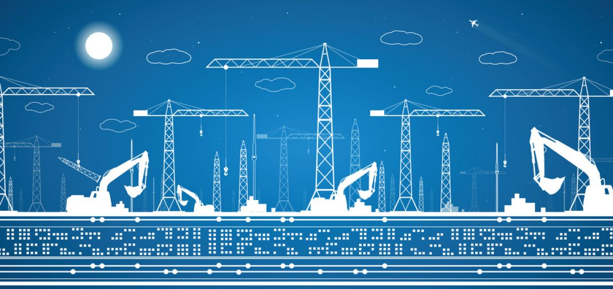 Construction panorama, industrial landscape, building cranes, vector lines design