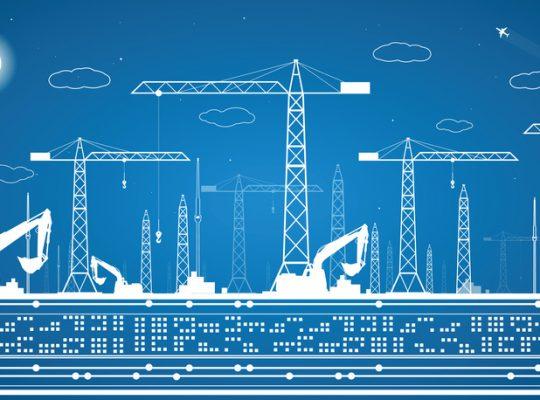 Construction panorama, industrial landscape, building cranes, vector lines design