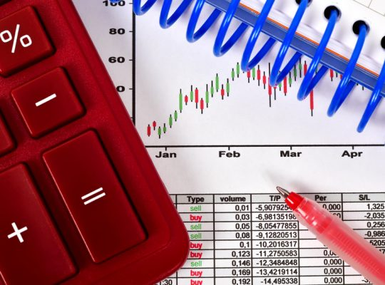 financial report on table with calculator, close up