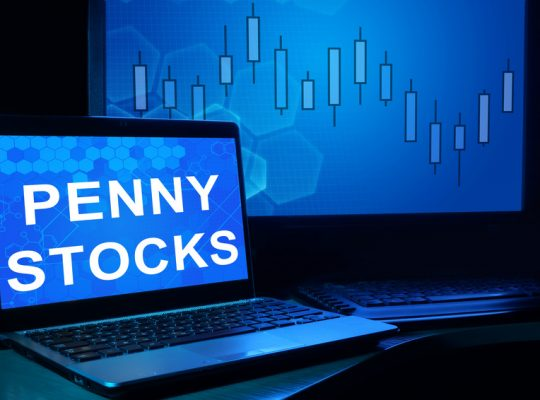 Computer with words penny stocks. Trading concept.
