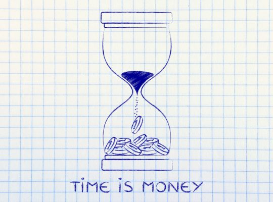 time is money: hourglass with sand turning into coins
