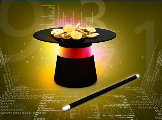 Digital  illustration of magic hat and wand with dollar coins in white background