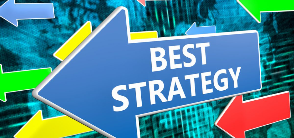 Best Strategy - text concept on blue arrow flying over green world map background. 3D render illustration.