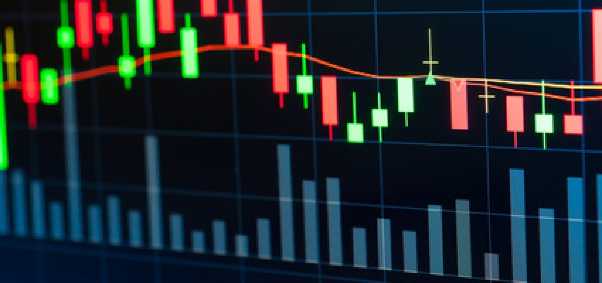 Stock market graph on screen display