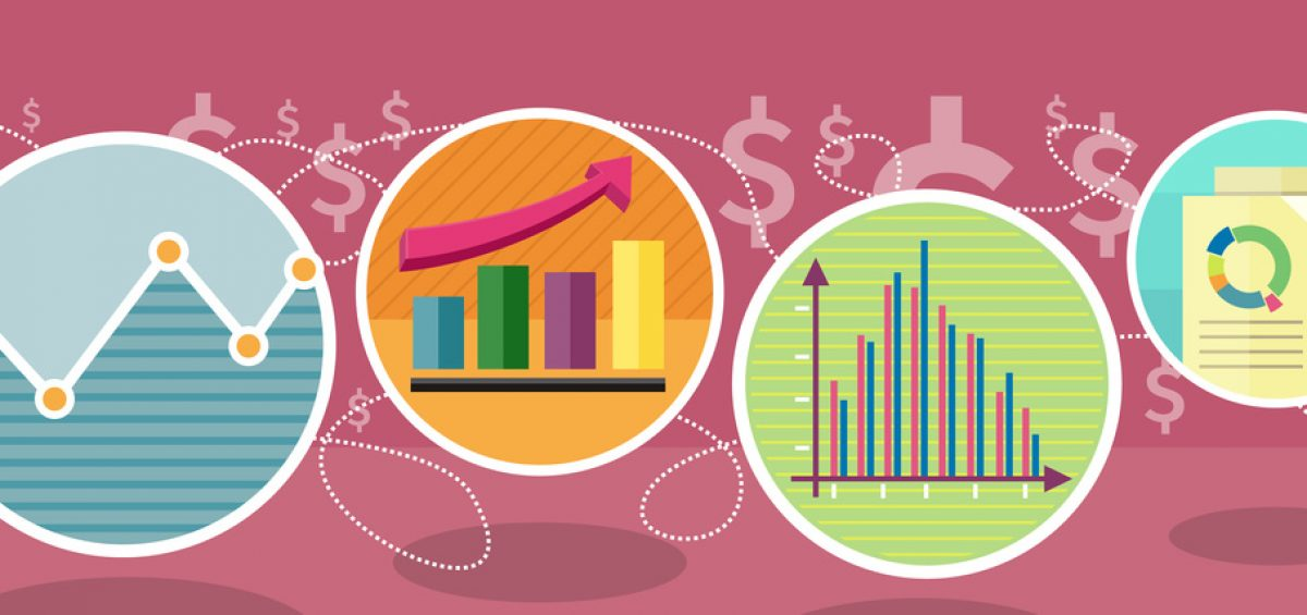 Different types of charts that show changes of share prices. Round color icons. Design concept. For web site construction, mobile applications, banners, corporate brochures, book covers, layouts etc.