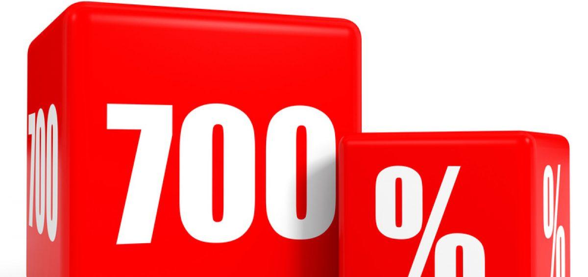 Red sale cubes. Seven hundred percent discount. 3D illustration.