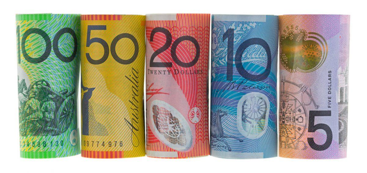 Rolls of Australia Banknote. Different Australian 5, 10, 20, 50, 100 dollars money isolated on white background