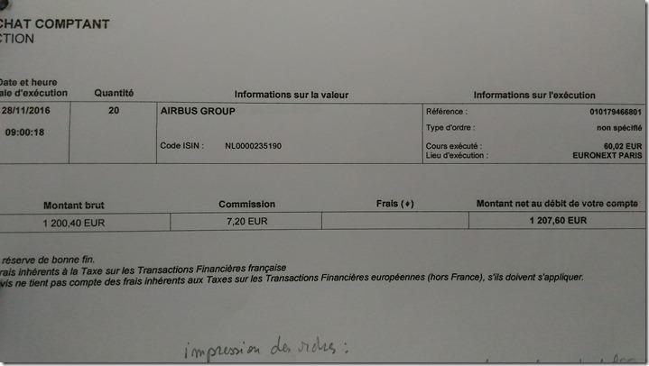 Ordre d'achat sur Airbus