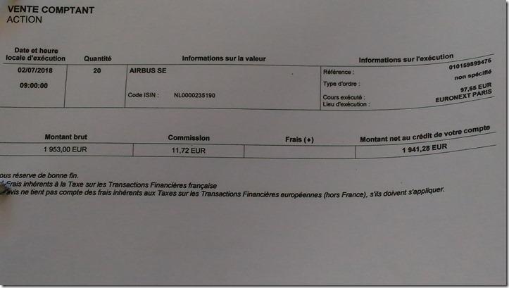 Ordre de vente sur Airbus