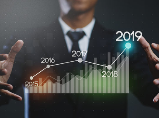 Businessman Creating Growing Statistic Financial Graph 2019