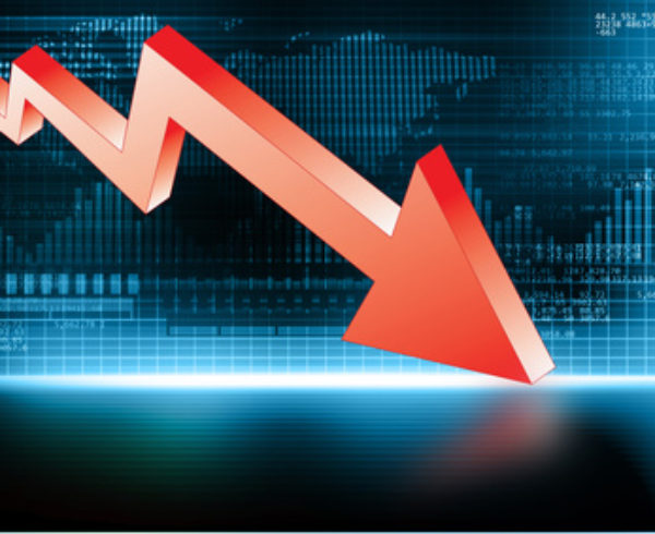 3d illustration of Arrow Graph showing business decline